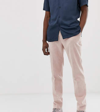 Asos Design DESIGN Tall skinny crop smart pants in pink cord