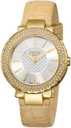 Ferré Milano Women's 36mm Stainless Steel Glitz Watch with Leather Strap, Golden