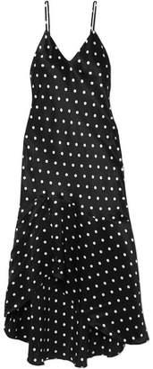 CAMI NYC The Sandra Asymmetric Polka-dot Silk-charmeuse Dress - Black
