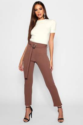 boohoo Tall Buckle Detail Tapered Trouser
