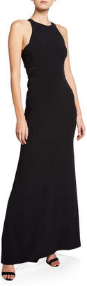 Halston Sleeveless High-Neck Crepe Gown with Side Twist Detail