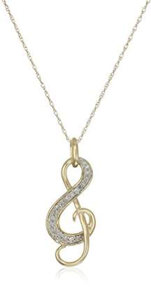 10k Yellow Gold Diamond Music Note Pendant Necklace (1/10 cttw