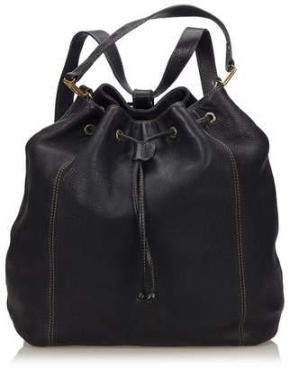 Fendi Vintage 2 Way Leather Drawstring Backpack