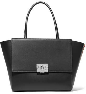 Calvin Klein Bonnie Large Grosgrain-trimmed Leather Tote - Black