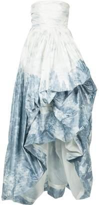 Oscar de la Renta printed strapless high low gown