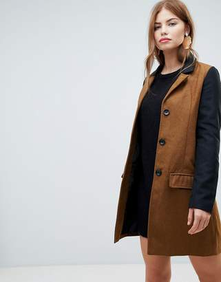 Brave Soul slim coat with contrast sleeve
