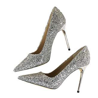 Hangshushiy 2018 Women Pumps high-Heeled Shallow Mouth Sharp Sparkling Sequined  Sexy Slim Wedding Shoes 55d04655efe6