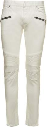 Balmain Classic Biker Trousers From White Classic Biker Trousers With Belt Loops, Zip Pockets, Slim Fit, Concealed Hook And Zip Fly Closure.
