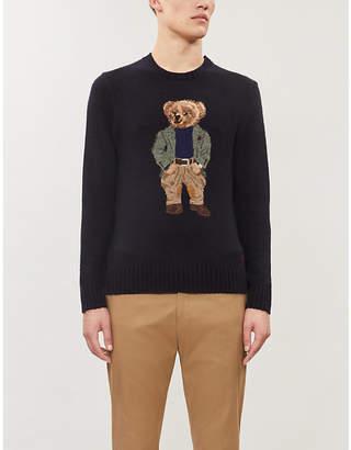 Ralph Lauren Purple Label Bear-intarsia cashmere-blend jumper