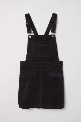 H&M Corduroy Bib Overall Dress - Black