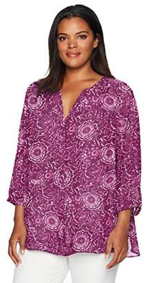NYDJ Women's Plus Size 3/4 Sleeve Pintuck Blouse