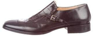 Cesare Paciotti Eel-Paneled Leather Loafers