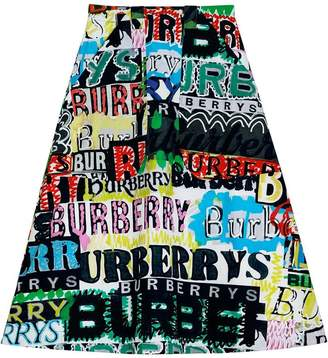 Burberry Logo Print Cotton A-line Skirt