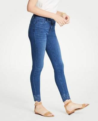 Ann Taylor Tall Modern Embroidered Hem All Day Skinny Jeans