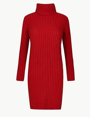 M&S Collection Ribbed Roll Neck Knitted Dress
