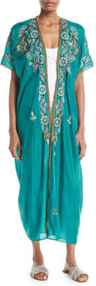 Miguelina Genesis Paisley-Embroidered Long Kimono Caftan
