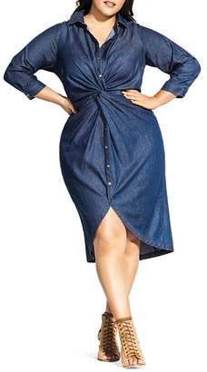 City Chic Plus Chambray Twist-Front Shirt Dress