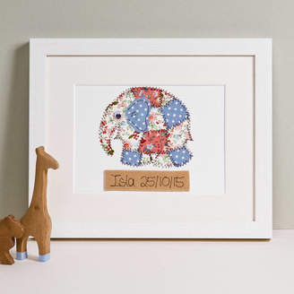 Zoe Gibbons Personalised Elephant Embroidered Artwork