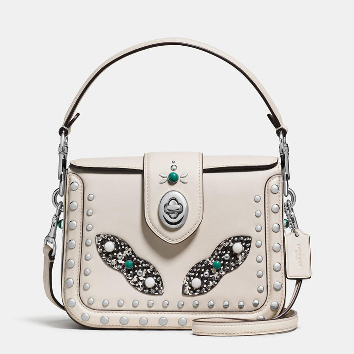 Coach  COACH Coach Western Rivets Page Crossbody With Snake Detail
