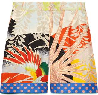 Gucci Tropical bird silk shorts