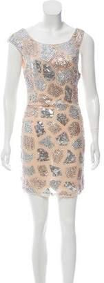 Alice + Olivia Embellished Silk Mini Dress