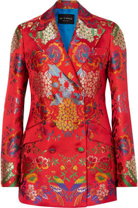 Etro Double-breasted Floral Satin-jacquard Blazer - Red