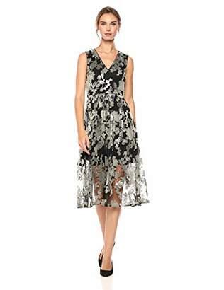 Vince Camuto Women's Floral Sequin V-Neck Midi Dress