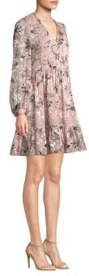 Kate Spade Swamped Botanical Chiffon Mini Fit-&-Flare Dress