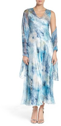 Women's Komarov A-Line Chiffon Dress & Shawl $348 thestylecure.com