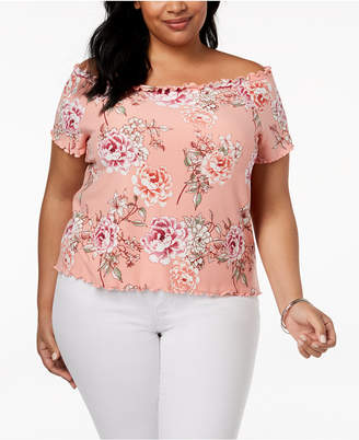 Planet Gold Trendy Plus Size Off-The-Shoulder Top