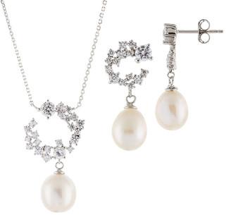 Splendid Pearls Silver 7.5-9.5Mm Cultured Freshwater Pearl Necklace & Earrings Set
