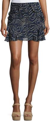 Derek Lam 10 Crosby Ruffled Silk Mini Skirt, Navy