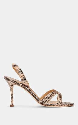 Manolo Blahnik Women's Callasli Snakeskin Slingback Sandals - Nude Snake
