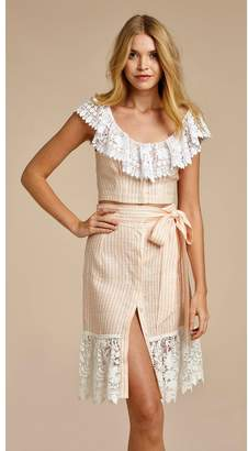 Miguelina Effie Hibiscus Lace-Trimmed Gingham Linen Top
