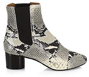 Isabel Marant Women's Danae Python Embossed Leather Booties