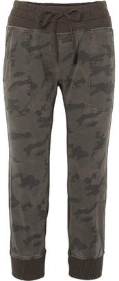 James Perse Camouflage-print Cotton-jersey Track Pants - Green