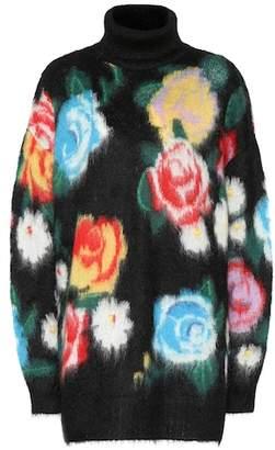 Miu Miu Rose intarsia mohair-blend sweater