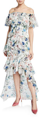 Badgley Mischka Floral-Print Off-the-Shoulder High-Low Tiered Ruffle Dress