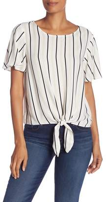 Socialite Patterned Tie Front Woven Top