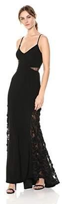 Betsy & Adam Women's Long v-Neckline Soutache and mesh Detail Dress,8