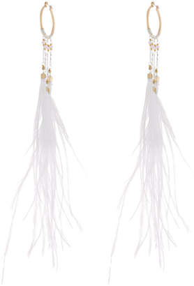 Nakamol Long Beaded Feather Hoop Earrings