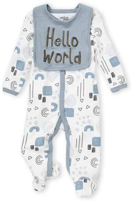 Baby Essentials Chick Pea (Newborn Boys) Two-Piece Hello World Bib & Footie Set