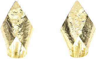 One Kings Lane Vintage 14K Gold Hammered Ribbon Earrings - Owl's Roost Antiques