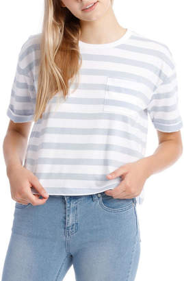 Miss Shop Boxy Pocket Tee - White/Soft Blue Stripe Yds