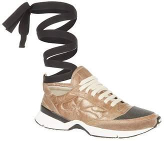 Brunello Cucinelli Metallic Ankle Strap Sneakers