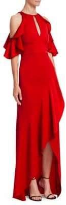 ML Monique Lhuillier Crepe Off-The-Shoulder Gown