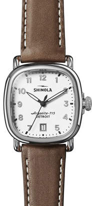 Shinola Men's 36mm Guardian 3HD Watch with Nut Brown Leather Strap