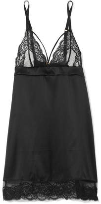Coco de Mer - Seraphine Satin, Leavers Lace And Tulle Chemise - Black