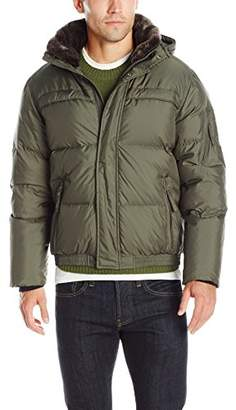 Andrew Marc Men's Fauxmula Down Bomber with Removable Hood and Faux Fur Collar