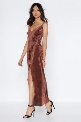 Nasty Gal Velvet Burnout Stripe Maxi Dress